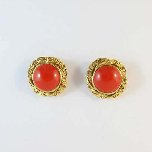 Vintage Chanel Red Gripoix & CC Logo Earrings (clip-on)