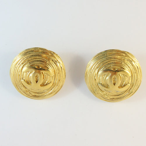 Signed Vintage Chanel Oversized Ribbed Earrings