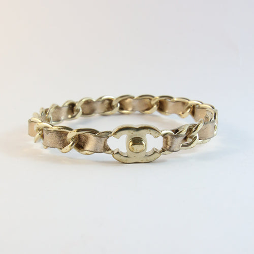 'CC' Chanel Vintage Gold Plated Chain & Leather Bangle