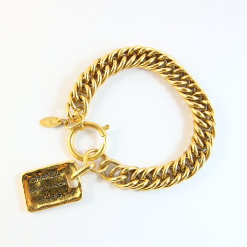 Signed Vintage Chanel c.1980s Name Tag Bracelet