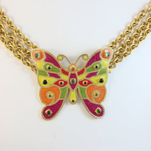 Signed Vintage Valentino Gold Plated Butterfly Belt Necklace