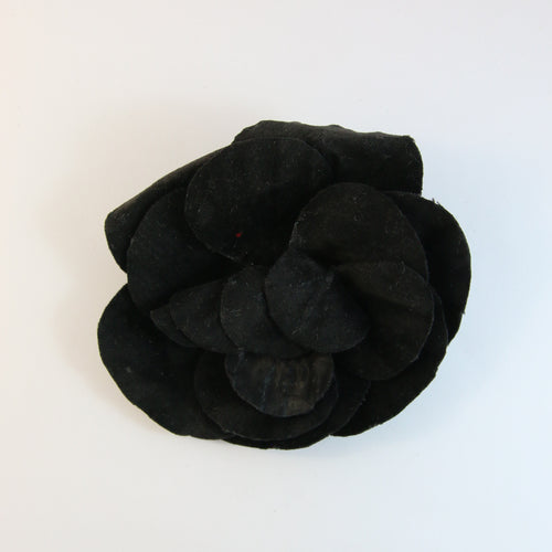 Unsigned Vintage Chanel Velvet Black Large Camellia Flower Pin Brooch c.1980s
