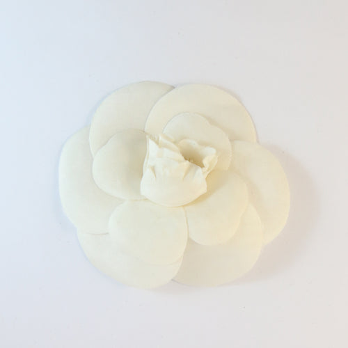 Signed Vintage Chanel Silk Cream Large Camellia Flower Pin Brooch c.1985