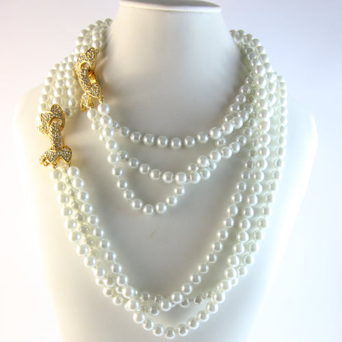 Signed Vintage Kenneth Jay Lane Triple Strand Faux Pearl Necklace & Crystal Rhinestone Clasps