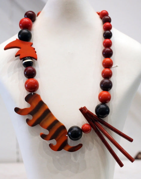 Signed Vintage Isadora Tiger Necklace