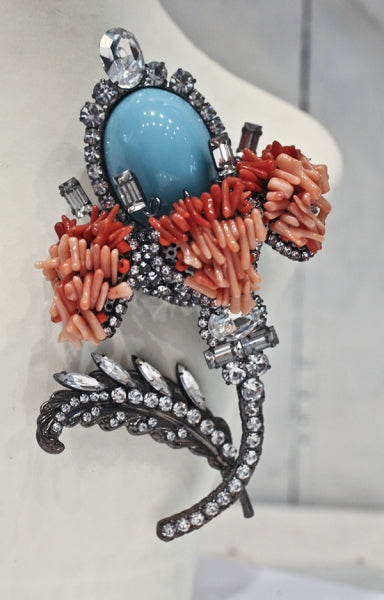 Coral and Faux Turquoise Vrba Brooch