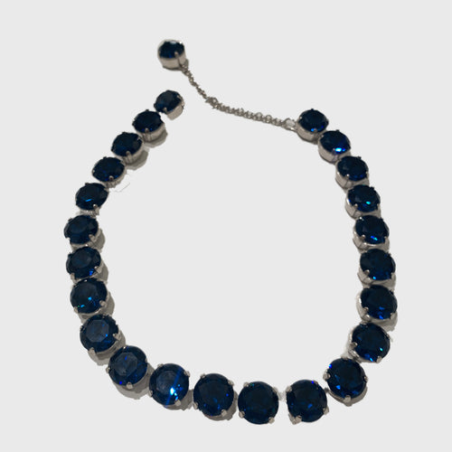 Harlequin Market Large Austrian Crystal Accent Necklace -Deep Blue Fuchsia