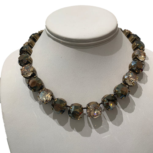 Harlequin Market X-Large Austrian Crystal Accent Necklace -Smokey Quartz & Golden Shadow Mix