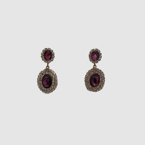Double Drop Clear & Amethyst Crystal Earrings (Clear)