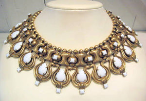 Harlequin Market White and Gold Harp Motif Collar Necklace