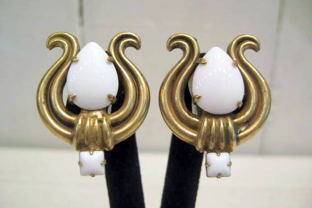 Harlequin Market White and Gold Harp Motif Earrings