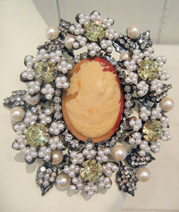 Harlequin Market Cameo Brooch with Crystal Embellishments