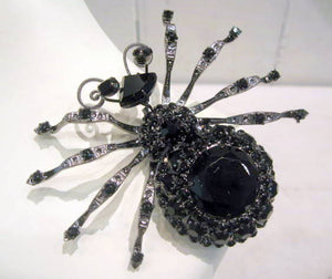 Harlequin Market Black Spider Brooch