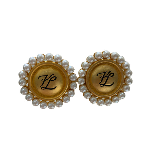 Vintage Karl Lagerfield Gold and Pearl Earrings (clip-on)