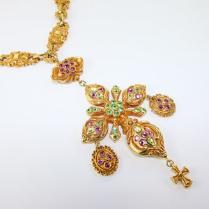 Christian Lacroix Signed Vintage Intricate Gold Statement Runway Necklace with Green & Pink Crystals c. 1990