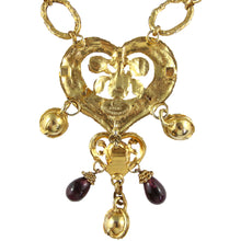 Load image into Gallery viewer, Christian Lacroix Vintage Dainty Heart Multi Gold Tone Bell Necklace c.1980s