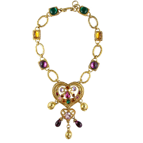 Christian Lacroix Vintage Dainty Heart Multi Gold Tone Bell Necklace c.1980s