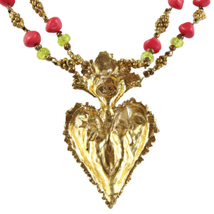 Christian Lacroix Vintage Double Chain Gold, Pink, Purple, Green Pendant Heart Necklace c.1980s
