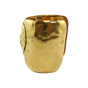 "Christian Lacroix Vintage Polished Gold Cuff Signed ""CL"" c.1980s"