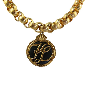 Vintage Karl Lagerfeld Chunky Gold Tone Chain & Medallion Pendant c.1990s
