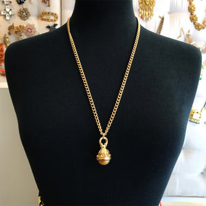 18kt Gold Plated Layering Chain Necklace With Vintage Pendant