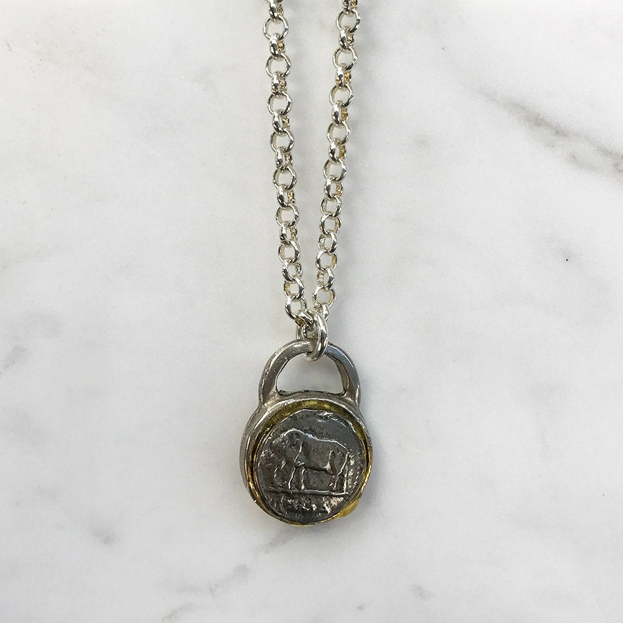Pewter Plated Layering Chain Necklace With Vintage Coin Pendant