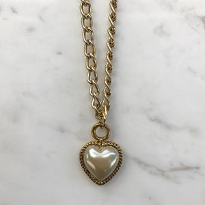 18kt Gold Plated Layering Chain Necklace With Vintage Faux Pearl Heart Pendant