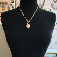 Load image into Gallery viewer, 18kt Gold Plated Layering Chain Necklace With Vintage Faux Pearl Heart Pendant