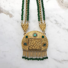 Load image into Gallery viewer, Lucien Piccard Signed Gold Plated Mogul Style Necklace with Emerald Green Glass Beads c. 1970