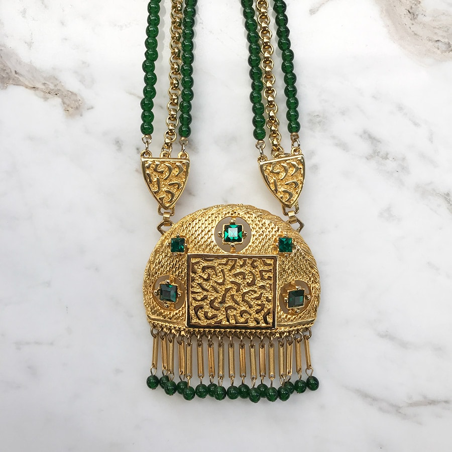 Lucien Piccard Signed Gold Plated Mogul Style Necklace with Emerald Green Glass Beads c. 1970