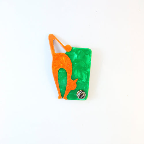 Lea Stein Cat With Ball Art Deco Brooch Pin - Green & Orange