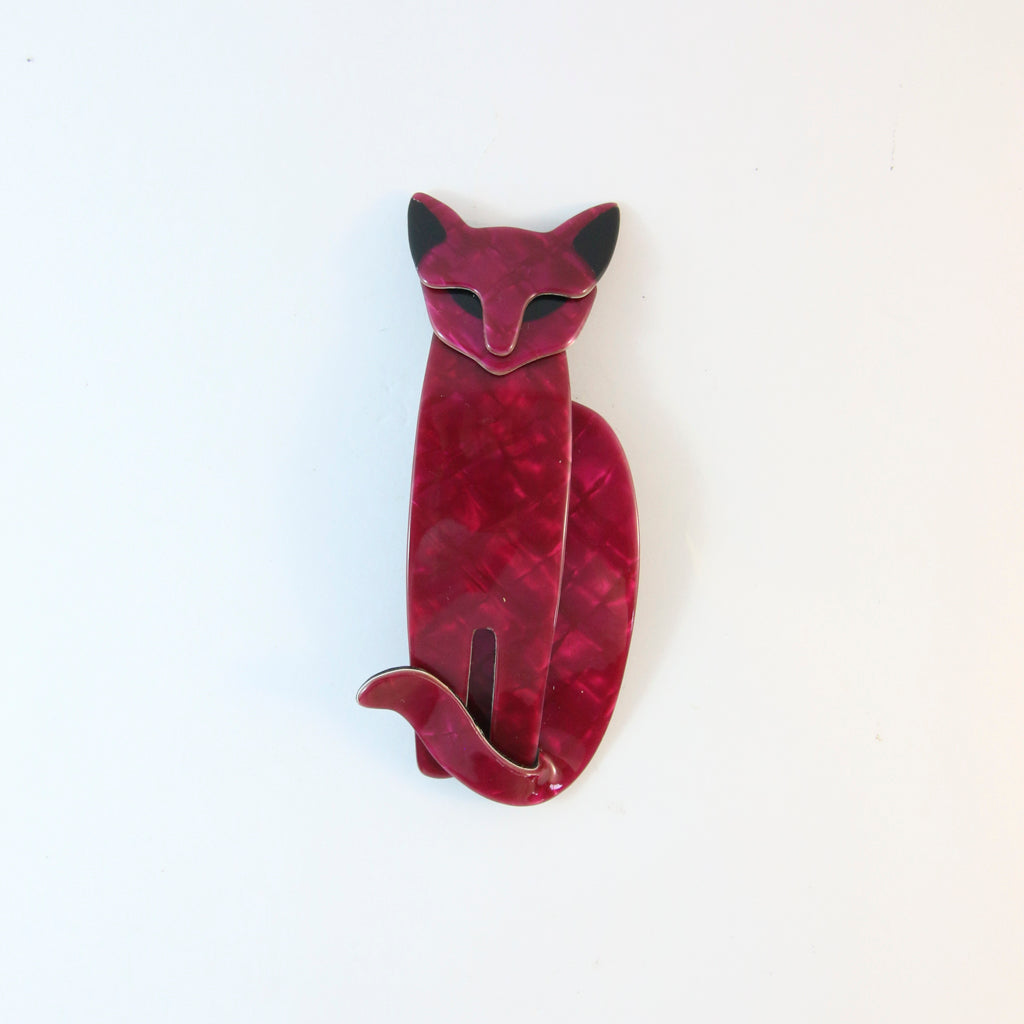 Lea Stein Quarrelsome Cat Brooch Pin - Maroon Grid With Black Ears & Eyes