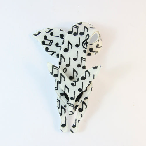 Lea Stein Famous Renard Fox Brooch Pin - White With Black Music Notes