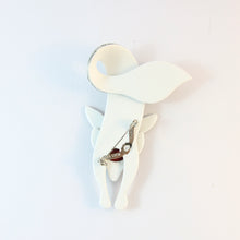 Load image into Gallery viewer, Lea Stein Famous Renard Fox Brooch Pin - White With Black Music Notes