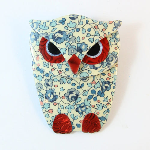 Lea Stein Signed Buba Owl Brooch Pin - Blue Floral With Red Eyes & Feet