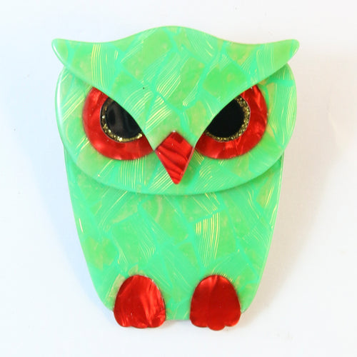 Lea Stein Signed Buba Owl Brooch Pin - Luminous Green Holographic Design