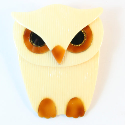 Lea Stein Signed Buba Owl Brooch Pin -  Yellow With Tortoiseshell Eyes & Feet