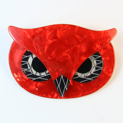 Lea Stein Signed Athena The Owl Head Brooch - Red With Black & White Dotted Lines
