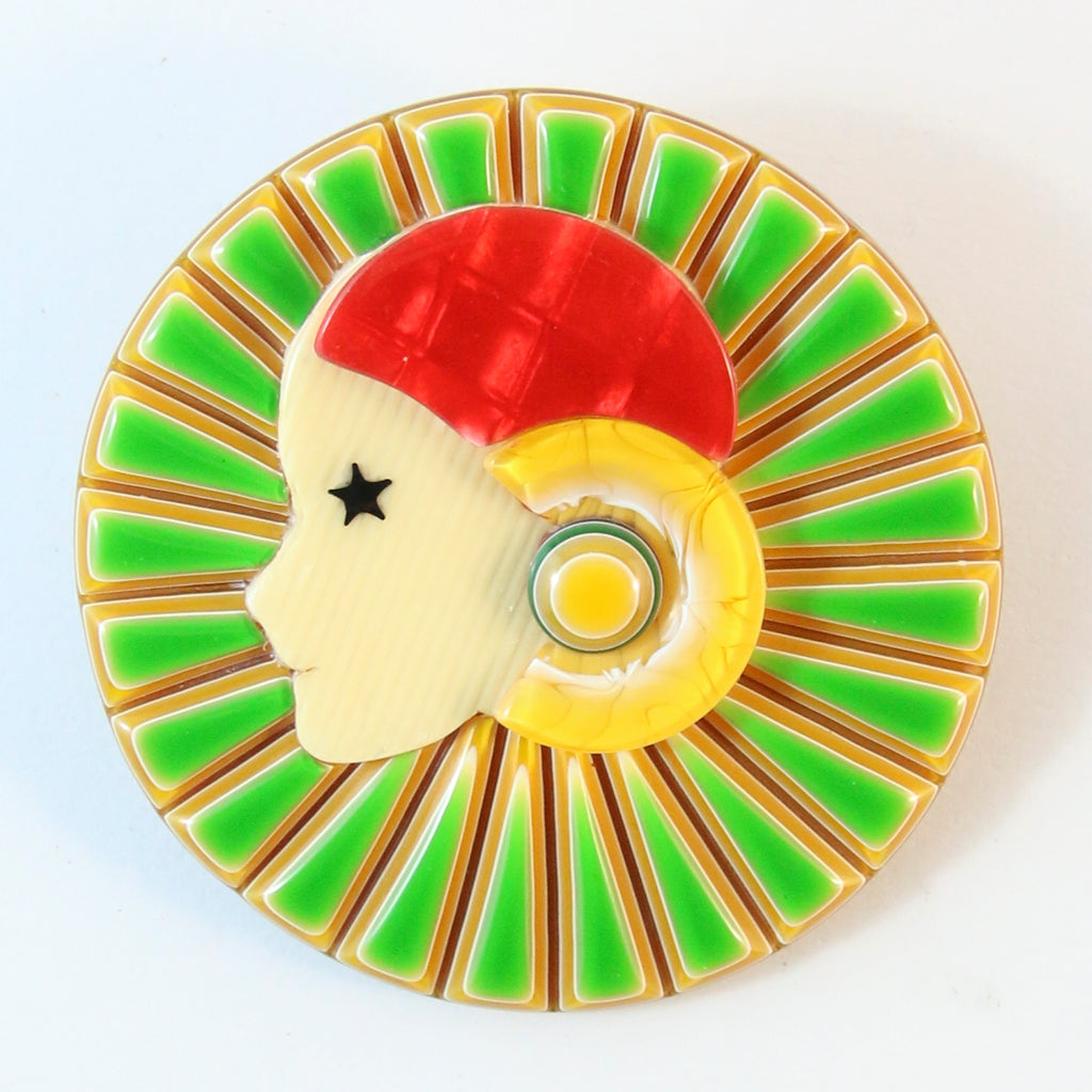 Lea Stein Full Collerette Art Deco Girl Brooch Pin - Green, Yellow & Red