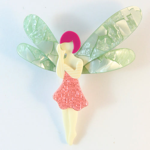 Lea Stein Signed Fairy Brooch - Pink Dress & Hair With Pastel Green Wings