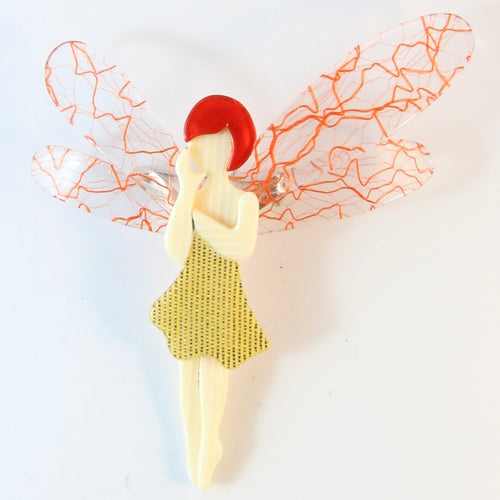 Lea Stein Signed Fairy Brooch - Gold Glitter Dress With Orange Squiggly Wings