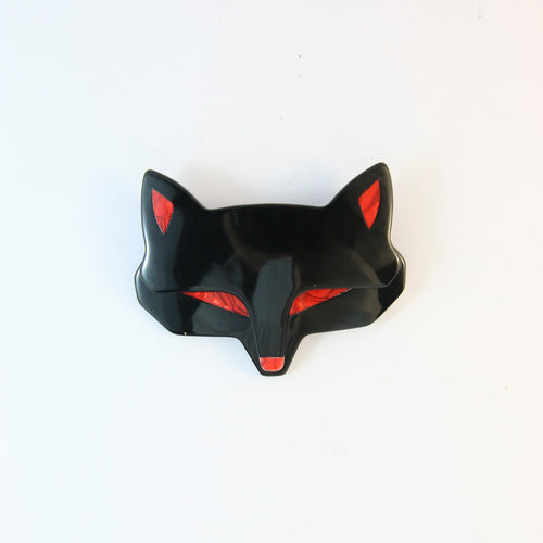 Lea Stein Goupil Fox Head Brooch - Black With Red Eyes & Ears
