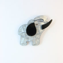 Load image into Gallery viewer, Lea Stein Elephant Pin Brooch - Matte Silver