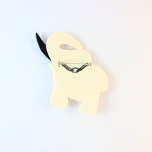 Load image into Gallery viewer, Lea Stein Elephant Pin Brooch - Black & Cream