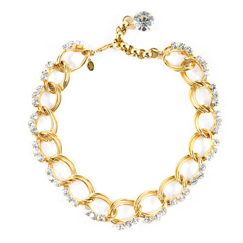 David Mandel for The Show Must Go On Gold Tone - Clear Crystal Chunky Chain Necklace