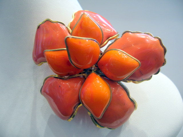 Vintage Chanel Pate-de-verre Orange Camellia Brooch