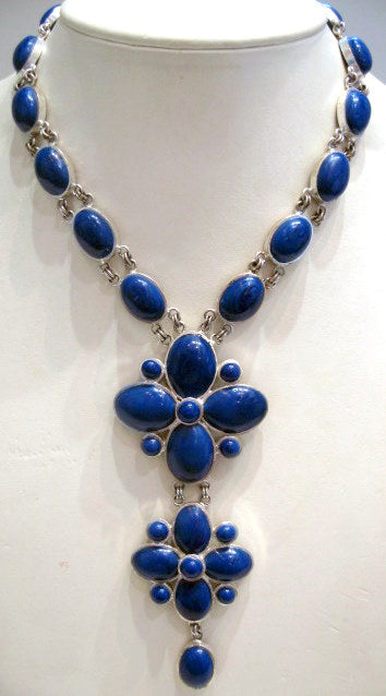 Pate-de-verre Deep Blue Double Drop Necklace