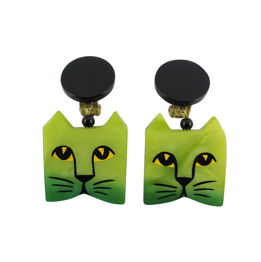 Pavone Signed Green Square Cat Face Earrings