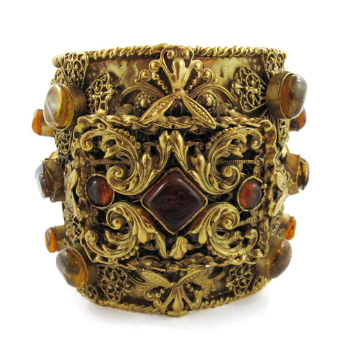 Unique Pate-de-verre (Hand poured Glass) intricate filigree cuff