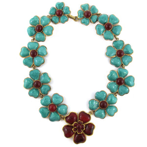 Pate-de-verre (Hand poured glass) colourfull camelia neckpiece